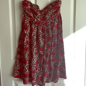 Strapless leopard and rose dress
