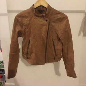 Theory Light Brown leather Moto jacket small