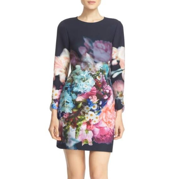 17e662889b047 Ted Baker Long Sleeve Vyra Floral Tunic Dress. M 59fe503799086a96560a5ac9