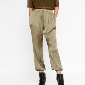 Zara Loose fit drawstring silky trousers. XL