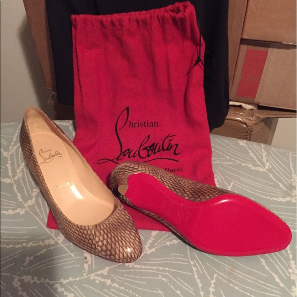 best loved 9bd79 dd97c Christian Louboutin snake skin pumps 35 1/2