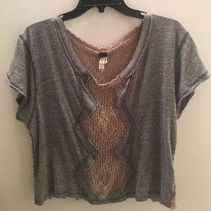 Grey/tan Top
