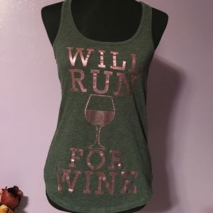 """5/$25 Chin up Apparel """"Will run for wine"""" XS"""