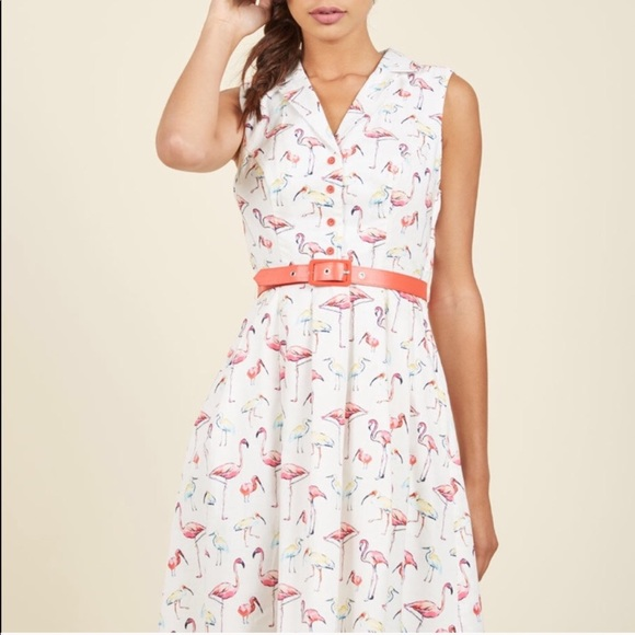 Modcloth Dresses & Skirts - It's An Inspired Taste Dress in Flamingos