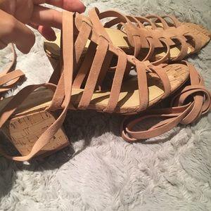 Marc Fisher gladiator tie up sandals block heel