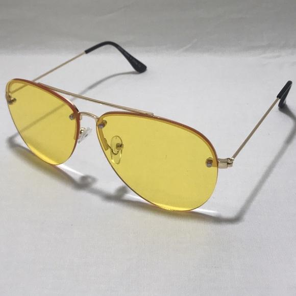 0a300547f361 Yellow Rimless Lens Aviator Sunglasses