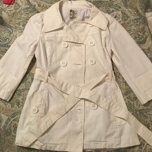 White double breasted trench style jacket