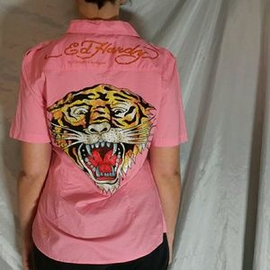 Ed Hardy tiger bling button up vintage collection
