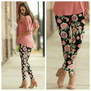 Floral Rose Print Leggings