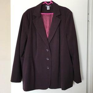 NWT Plum Blazer Plus Size 2X Burgundy Purple