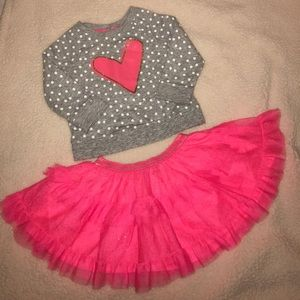 EUC Sz 12M Pink and Grey Sparkly Top and Skirt Set