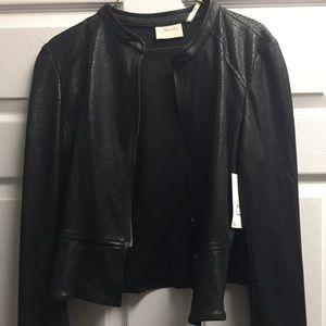 NWT Frenchi, lightweight faux leather black jacket