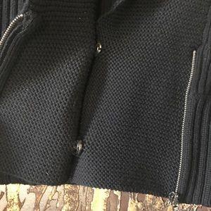Club Monaco Sweaters - Black merino wool zip sweater extra long cuffs
