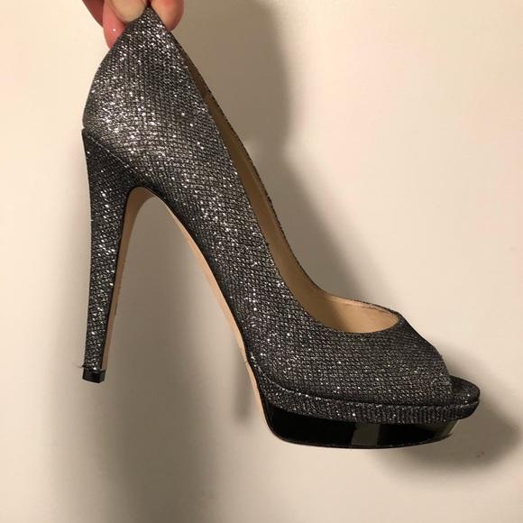 "dcff9aaa5b3 Jimmy Choo Shoes - Jimmy Choo ""Dahlia"" glitter peep toe heels"