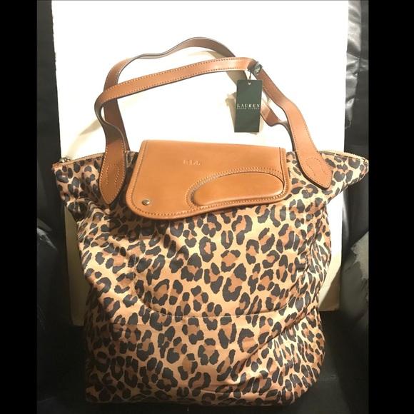 45f9247ed7 Lauren Ralph Lauren Wooten Leopard Cheetah Tote!!