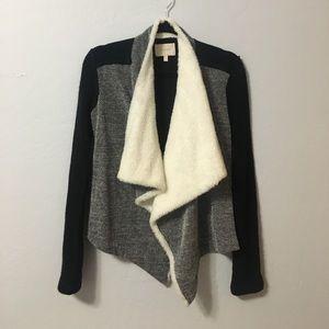 SkiesAreBlue draped sweater/cardi w faux shearling