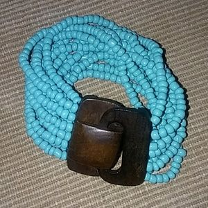 Jewelry - Stretch Bracelet with wooden clasp.