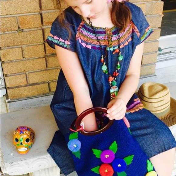 Denim Embroidered Ethnic Dress Mexican Tribal  ce2fce67dbdb0