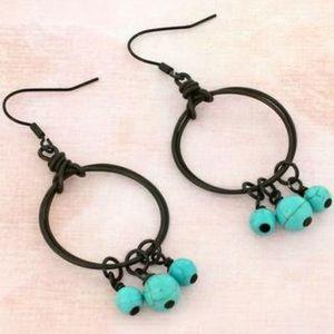 Dark Brass Hoop Earrings