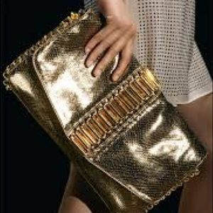 Auth ted baker tube chain snake embossed clutch