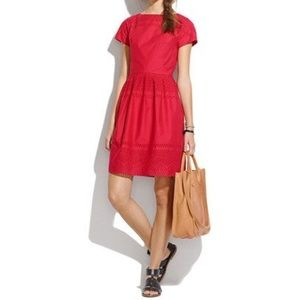 Madewell latticework red Sheath Dress