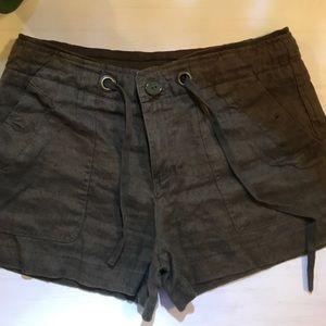 Navy green linen shorts