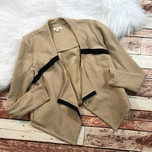 Weston tan textured blazer cardigan
