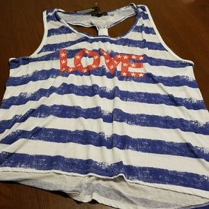 LOVE red white blue striped racetrack tank NWT