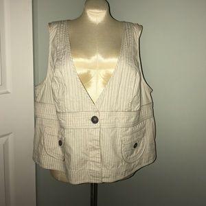 Lane Bryant Cream One-Button Vest Size 26