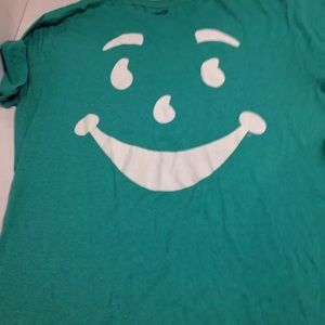 Green kool aid man smile shirt