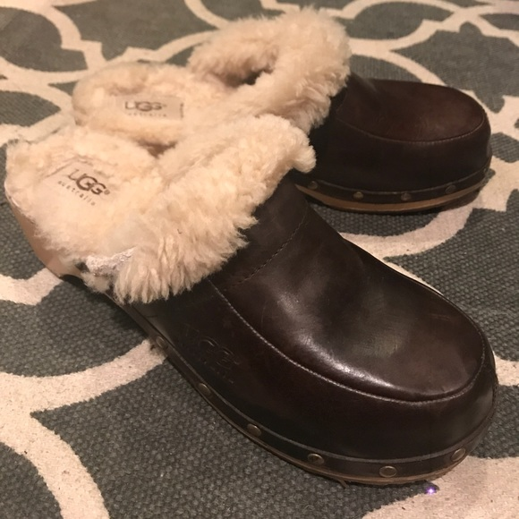 fdbfe5cb81a Ugg Australia Kalie Brown Leather Sheepskin Lined