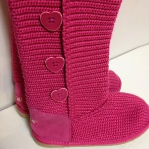 Pink knit slipper boots