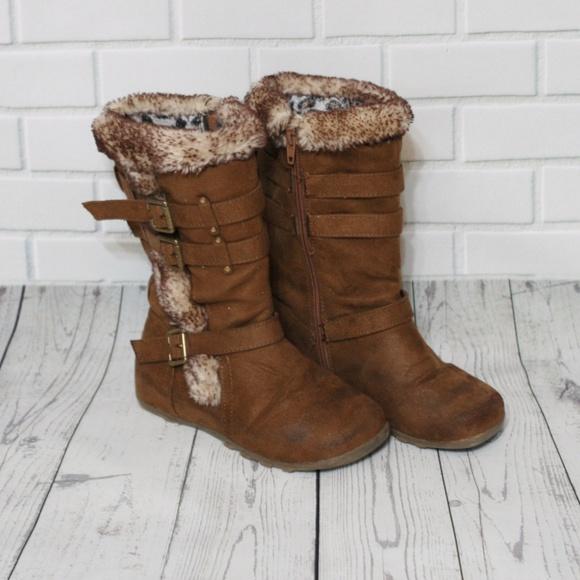 Girls Suede Fur Boots