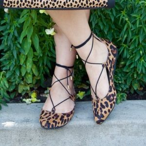 Leopard Lace Up Flats!