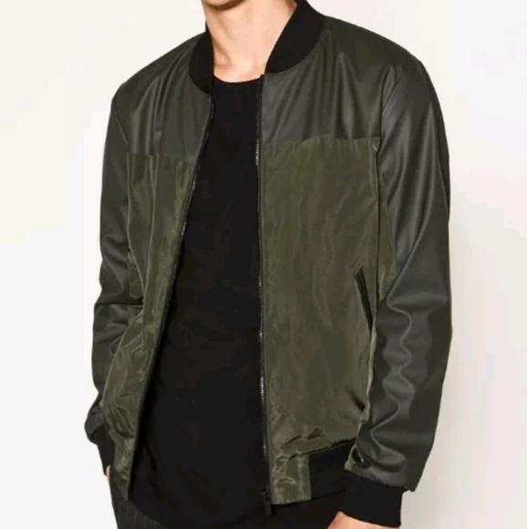 451638e0 Zara Jackets & Coats | Men Faux Leather Bomber Jacket Size Xl | Poshmark