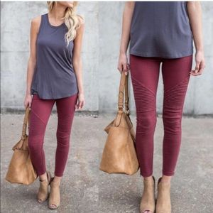 Pants - Burgundy Moto Jeggings