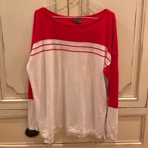 Vince Red and White Sweater