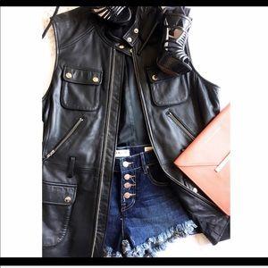 Black genuine leather long Moto vest