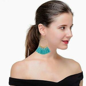 Jewelry - 💥Flash Deal💥 Light Blue Tassel Hoop Earrings
