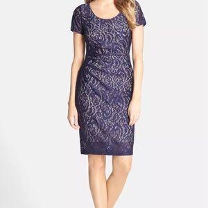 NYDJ Purple Lace Overlay Sheath Short Sleeve Dress