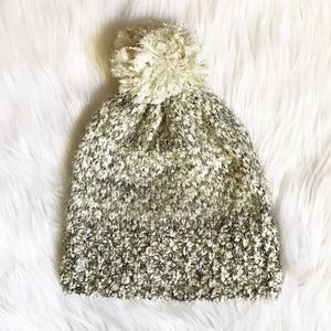 Anthropologie Tinsel Knit Hat in White