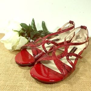"Womens 7.5 Red Strappy Sandals by ""Dana Buchman"""