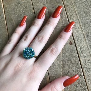 3 for $18 Handmade Blue Druzzy Adjustable Ring