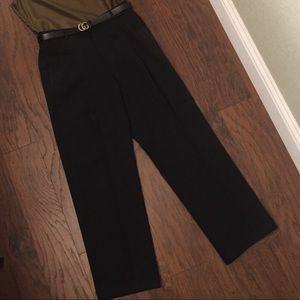 100% Wool Pleated Black Trousers