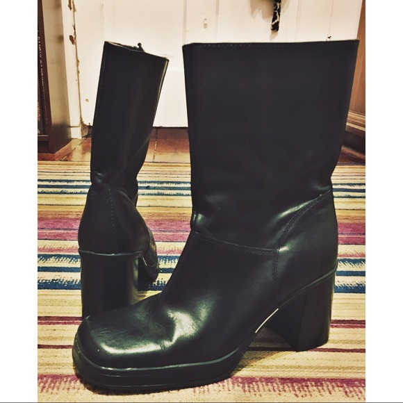Black Tommy Hilfiger Square Toed Leather Boots Tommy Hilfiger Statement Buckle Boots Shoes