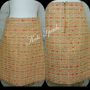 Kate Spade Orange Pink Pamela Tweed SkirtSize 2