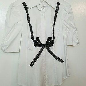 BEBE Lace Bow Dress Shirt