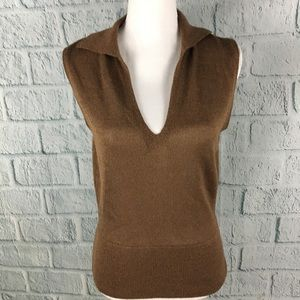 J. Crew Brown Sweater Knit V-Neck Sleeveless Shirt