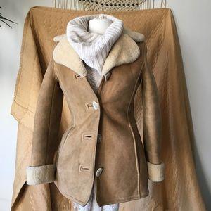 vintage handmade sherpa suede jacket