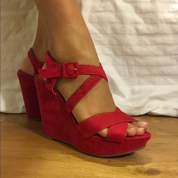 American Red Rag American Strappy Strappy Wedges Rag Red American Red Wedges b6Yfgy7